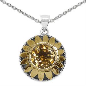 7.00 Grams Citrine Silver & Copper Flower Shape Pendant