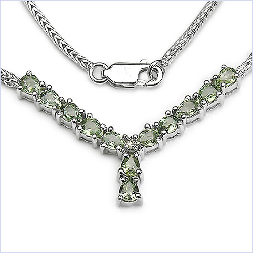 2.41CTW Genuine Green Sapphire & Diamond .925 Sterling Silver Necklace