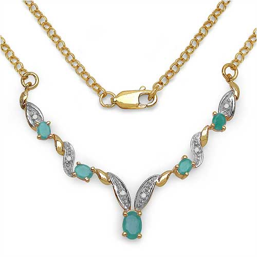 1.28CTW Gold Plated .925 Sterling Silver Emerald & Diamond Necklace