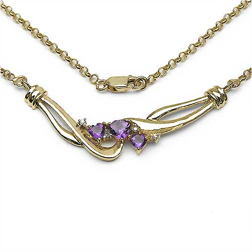 0.99CTW Gold Plated .925 Sterling Silver Amethyst & Diamond Necklace