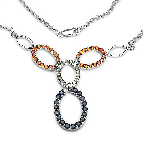 4.44CTW Blue & Orange Sapphire .925 Sterling Silver Necklace