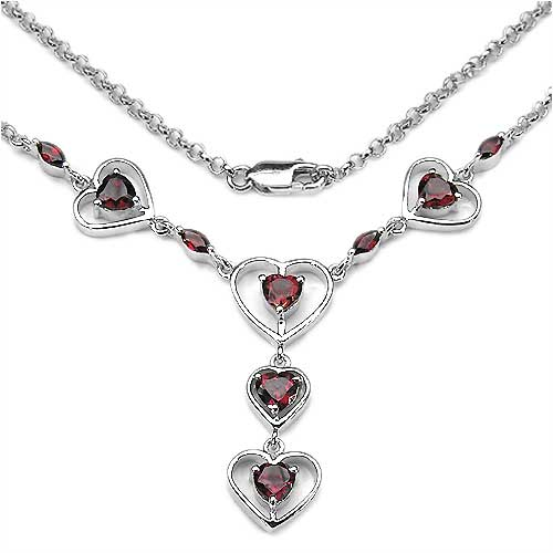 3.30CTW .925 Sterling Silver Garnet Necklace