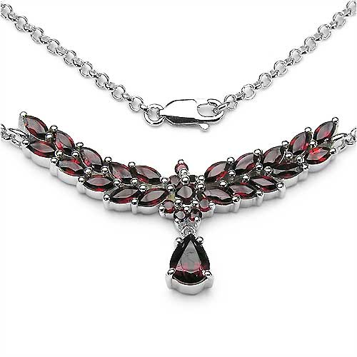 5.57CTW .925 Sterling Silver Garnet Necklace