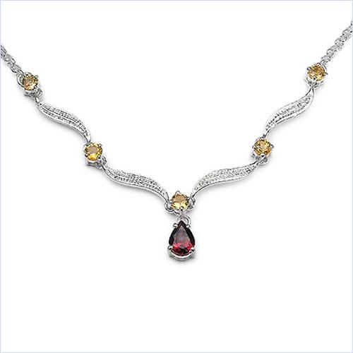 1.75CTW Garnet & Citrine .925 Sterling Silver Necklace