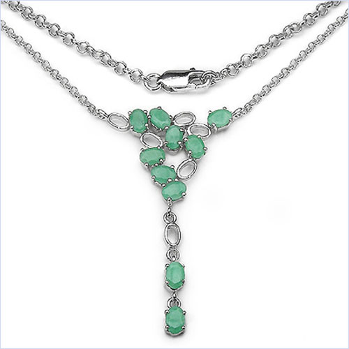 4.50CTW .925 Sterling Silver Emerald Necklace