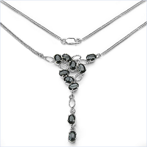 6.50CTW .925 Sterling Silver Sapphire Necklace