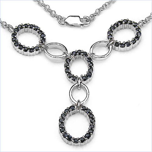 2.40CTW .925 Sterling Silver Sapphire Necklace