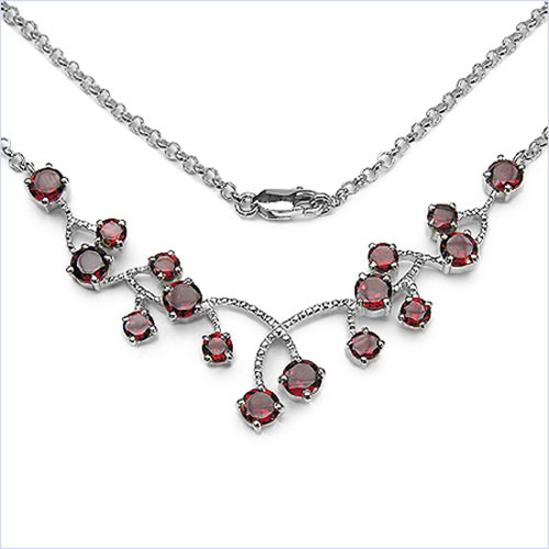 7.60CTW .925 Sterling Silver Garnet Necklace