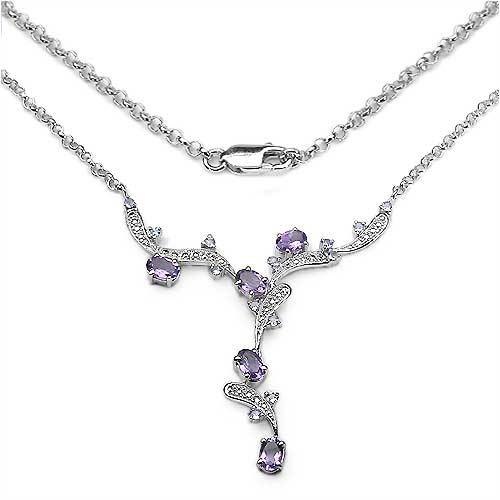 2.61CTW .925 Sterling Silver Amethyst & Tanzanite Necklace