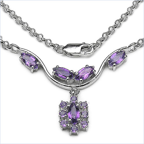 2.90CTW .925 Sterling Silver Amethyst Necklace