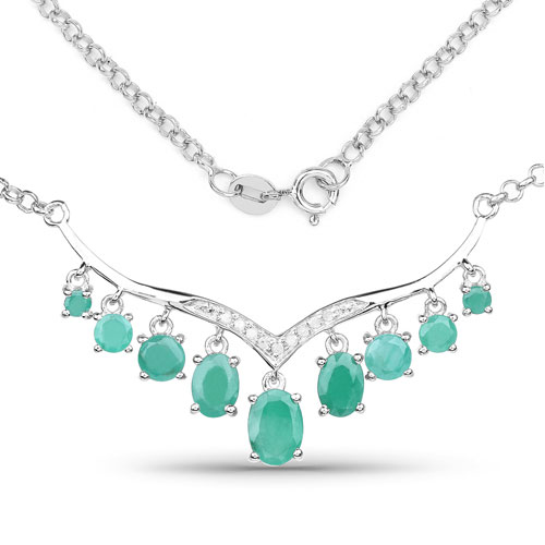 3.98CTW Genuine Emerald & White Diamond .925 Sterling Silver Necklace