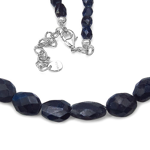 157.85CTW Dyed Sapphire 47CM Long & 5.00CM Extendable .925 Sterling Silver Beads Necklace