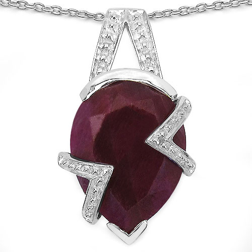 9.50CTW 16x11mm Pear Shape Dyed Ruby .925 Sterling Silver Solitaire Pendant