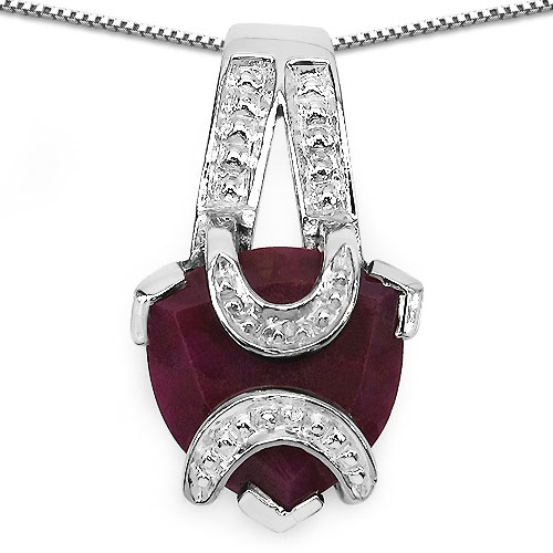 5.00CTW 12.00mm Trillion Shape Dyed Ruby .925 Sterling Silver Solitaire Pendant