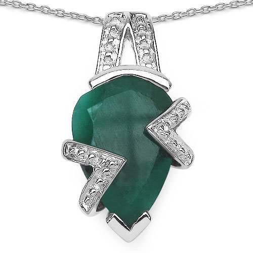 2.50CTW 12x8mm Pear Shape Dyed Emerald .925 Sterling Silver Solitaire Pendant