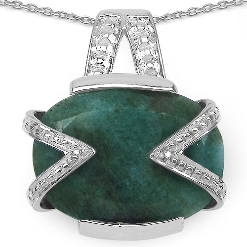 6.00CTW 14x10mm Oval Shape Dyed Emerald .925 Sterling Silver Solitaire Pendant
