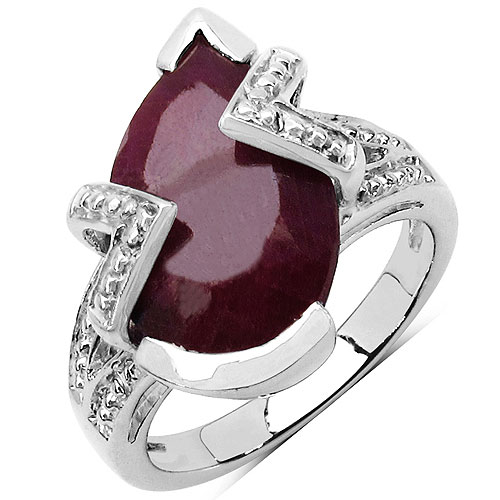 8.20CTW 15x10mm Pear Shape Dyed Ruby .925 Sterling Silver Solitaire Ring