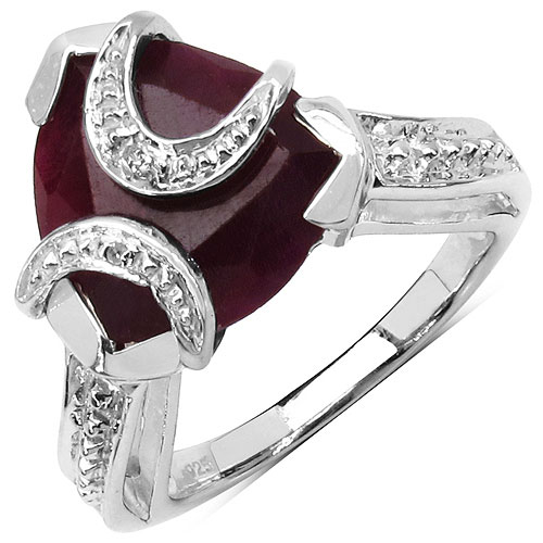 3.50CTW 8.50mm-8.95mm Trillion Shape Dyed Ruby .925 Sterling Silver Solitaire Ring