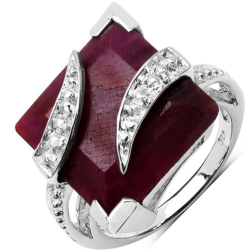 9.20CTW 12.00mm Square Shape Dyed Ruby .925 Sterling Silver Solitaire Ring