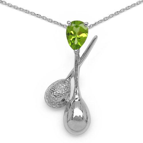 0.76CTW Genuine Peridot & White Diamond .925 Sterling Silver Pendant