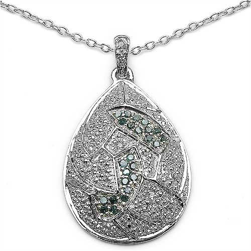 0.40CTW Blue & White Diamond .925 Sterling Silver Pear Pendant