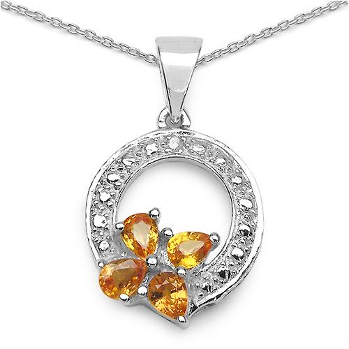 0.81CTW Orange Sapphire & Diamond .925 Sterling Silver Pendant