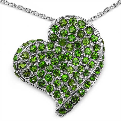 3.30CTW Genuine Chrome Diopside .925 Sterling Silver Heart Pendant