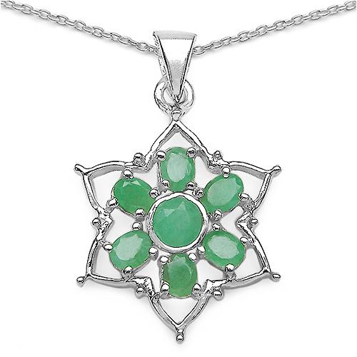 1.70CTW Genuine Emerald .925 Sterling Silver Pendant