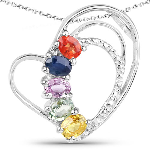 1.11CTW Genuine Multi Sapphire .925 Sterling Silver Heart Shape Pendant