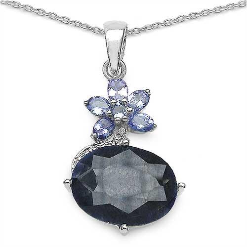 12.08CTW Genuine Sapphire & Tanzanite .925 Sterling Silver Pendant
