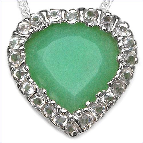 2.69CTW Genuine Emerald & White Topaz .925 Sterling Silver Heart Shape Pendant