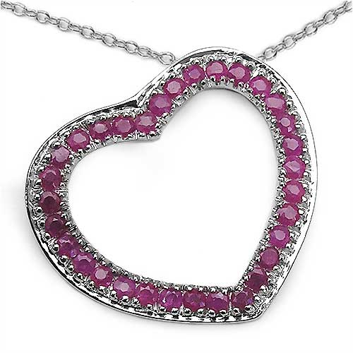 0.96CTW Genuine Ruby .925 Sterling Silver Pendant