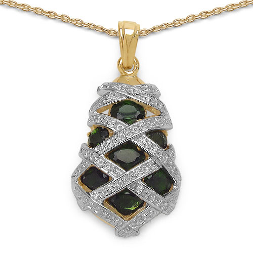 2.08CTW Genuine Chrome Diopside 14K Yellow Gold Plated .925 Sterling Silver Pendant