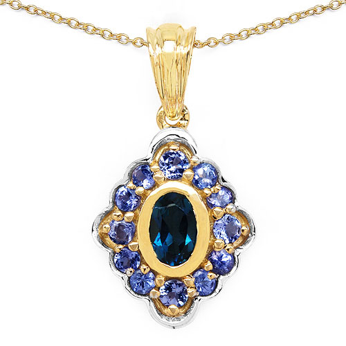 1.21CTW Genuine Blue Topaz & Tanzanite 14K Yellow Gold Plated .925 Sterling Silver Pendant