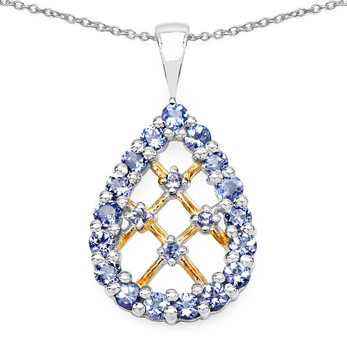 1.27CTW Genuine Tanzanite Two Tone Plated .925 Sterling Silver Pear Shape Pendant