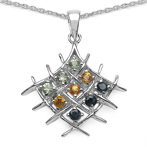 1.08CTW Multiple Sapphire .925 Sterling Silver Pendant
