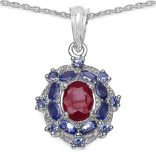 3.30CTW Glass Filled Ruby & Tanzanite.925 Sterling Silver Pendant