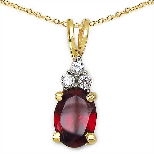 1.06CTW Genuine Garnet & White Cubic Zircon 14K Yellow Gold Plated .925 Sterling Silver Pendant