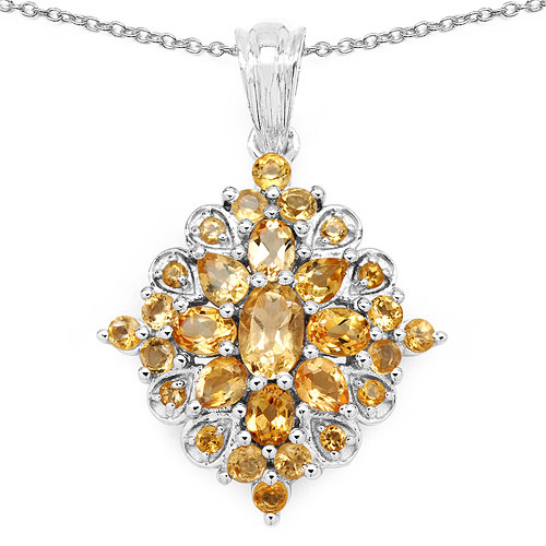 3.13CTW Genuine Citrine .925 Sterling Silver Pendant
