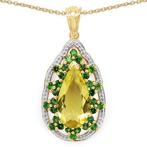1.53CTW Genuine Lemon Topaz & Chrome Diopside 14K Yellow Gold Plated .925 Sterling Silver Pendant