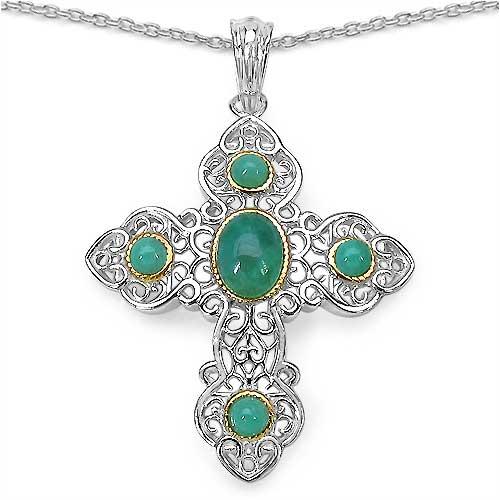 2.11CTW Genuine Emerald .925 Sterling Silver  Pendant