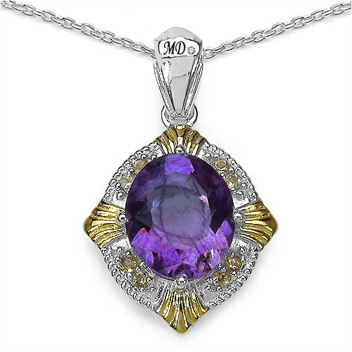 """6.11CTW Genuine Amethyst, Citrine & White Diamond Two Tone Plated .925 Sterling Silver Pendant"""