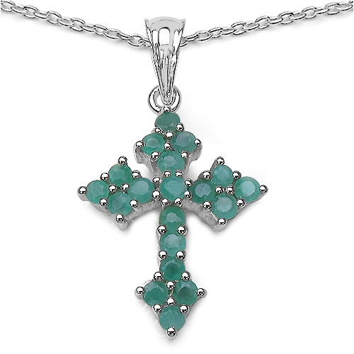 1.33CTW Genuine Emerald .925 Sterling Silver Cross Shape Pendant