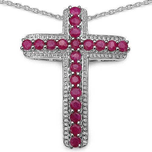 2.40CTW Genuine Ruby .925 Sterling Silver Cross Shape Pendant