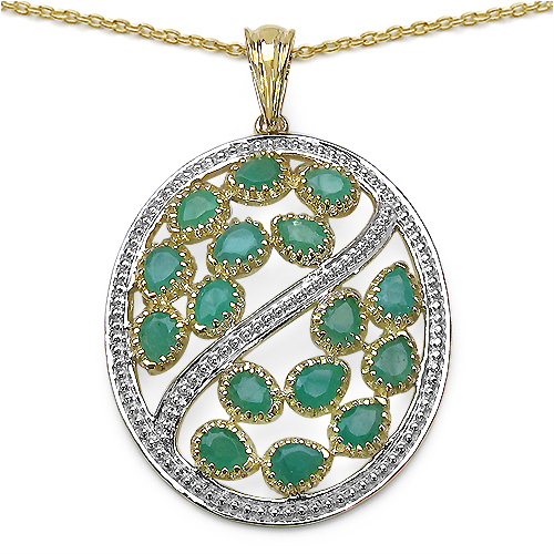 2.88CTW Genuine Emerald 14K Yellow Gold Plated .925 Sterling Silver Pendant