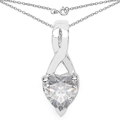 1.80CTW White Cubic Zirconia .925 Sterling Silver Heart Shape Pendant
