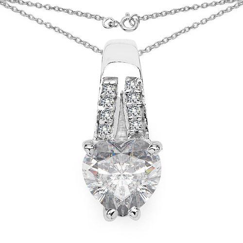 3.38CTW White Cubic Zirconia .925 Sterling Silver Heart Shape Pendant