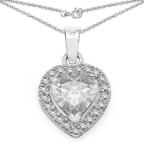 3.64CTW White Cubic Zirconia .925 Sterling Silver Heart Shape Pendant