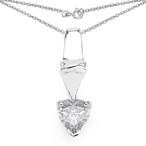 0.85CTW White Cubic Zirconia .925 Sterling Silver Heart Shape Pendant