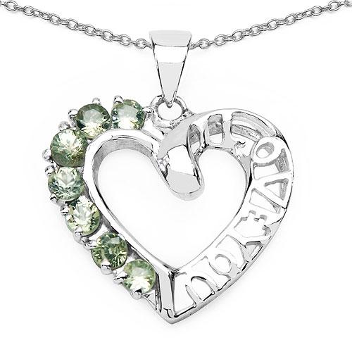 0.98CTW Genuine Green Sapphire .925 Sterling Silver Heart Shape Pendant